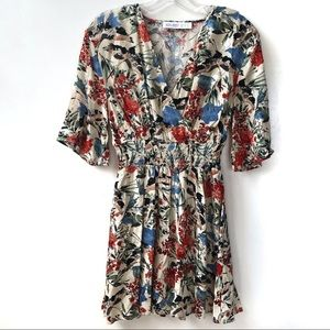 Zara Basic Floral Mini Wrap Dress Size XS